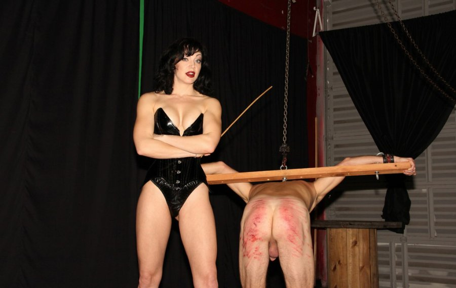 image Session with mistress slapping tits face ass