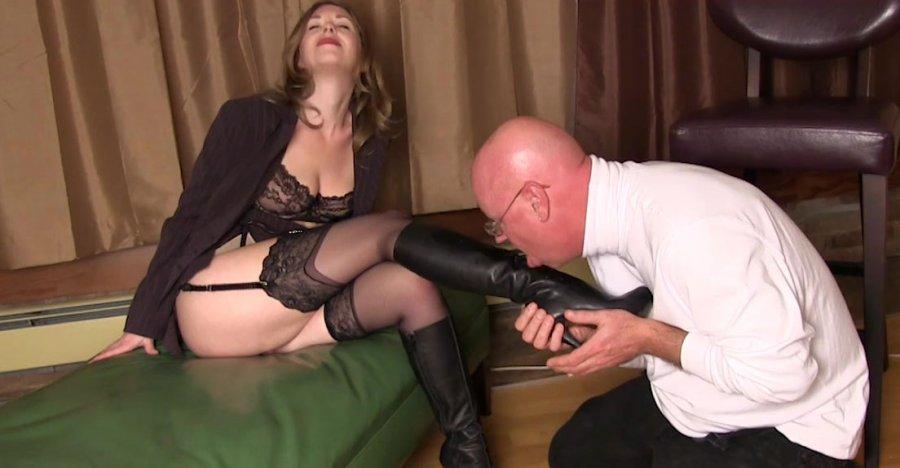 Femdom making slave eat cum video